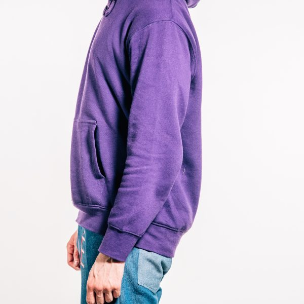 Purple pre-shrunk 'MODEL' hoodie side