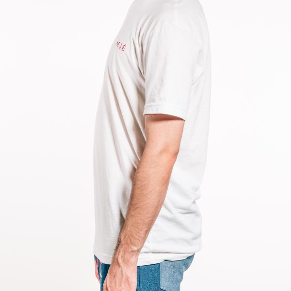 White basic logo tee Side