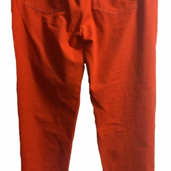 Orange ribstop denim trousers