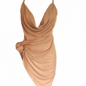 Side tie cowl neck dress